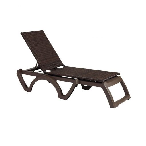 Java All Weather Wicker Chaise Bronze Frame Bronze Sling