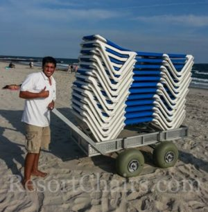 hotel beach chair cart with wheeleez