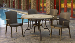 Grosfillex Brand Pedestal Tables With Metal Legs