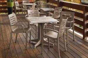 Grosfillex Brand Molded Melamine Tables